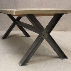 Tolix Style Chair Nailhead Arm Metal Base Table, A Sturdy Industrial Table With An Oak Top