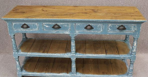metal bucket chairs blue velvet chair shabby chic sideboard,reclaimed pine top and hand distressed paintwork