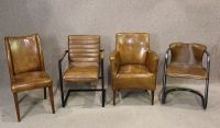 Tubular steel and leather chair, superb quality unusual ...