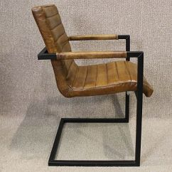 Leather Armchair Metal Frame Office Chair Attached Table Tan With Steel Frame. A Wonderful With.