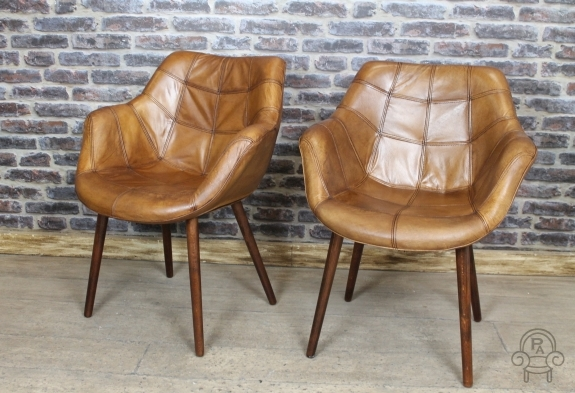 leather bucket chair revolving with backrest vintage style tan armchair