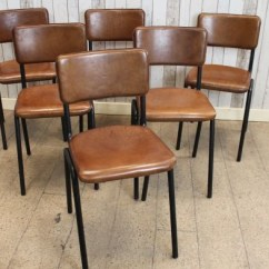 Metal Stacking Chairs Outdoor Chair Covers For Living Room Vintage Style Leather Chelmsford Dining