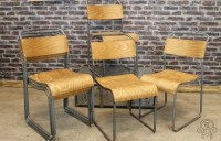 INDUSTRIAL METAL CHAIRS PLYWOOD CAFE