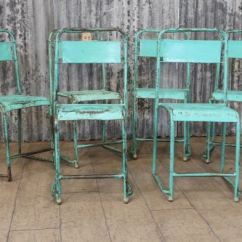 Blue Folding Chairs Posture Seat For Babies Vintage Green Metal Stacking - Industrial Retro