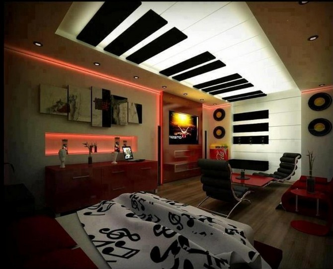 10 Interesting Music Themed Bedrooms Vintage Industrial Style