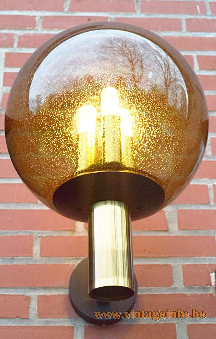 Glashtte Limburg Bubble Glass Garden Wall Lamp Vintage