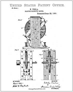 Nicola Tesla, Vintage Internet Patent Reproductions