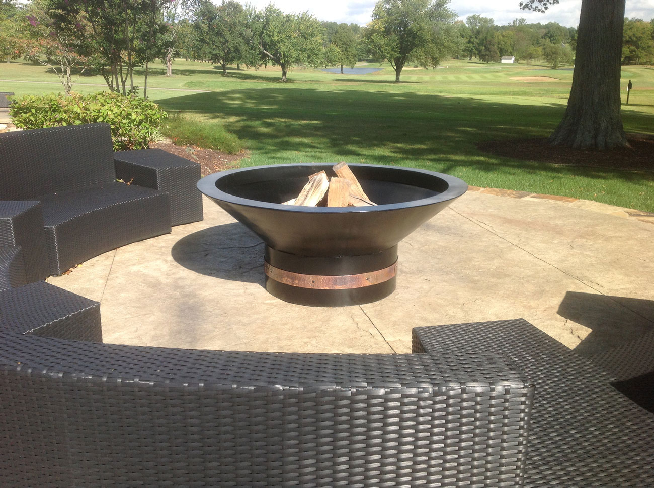 outdoor fire pit with copper trim