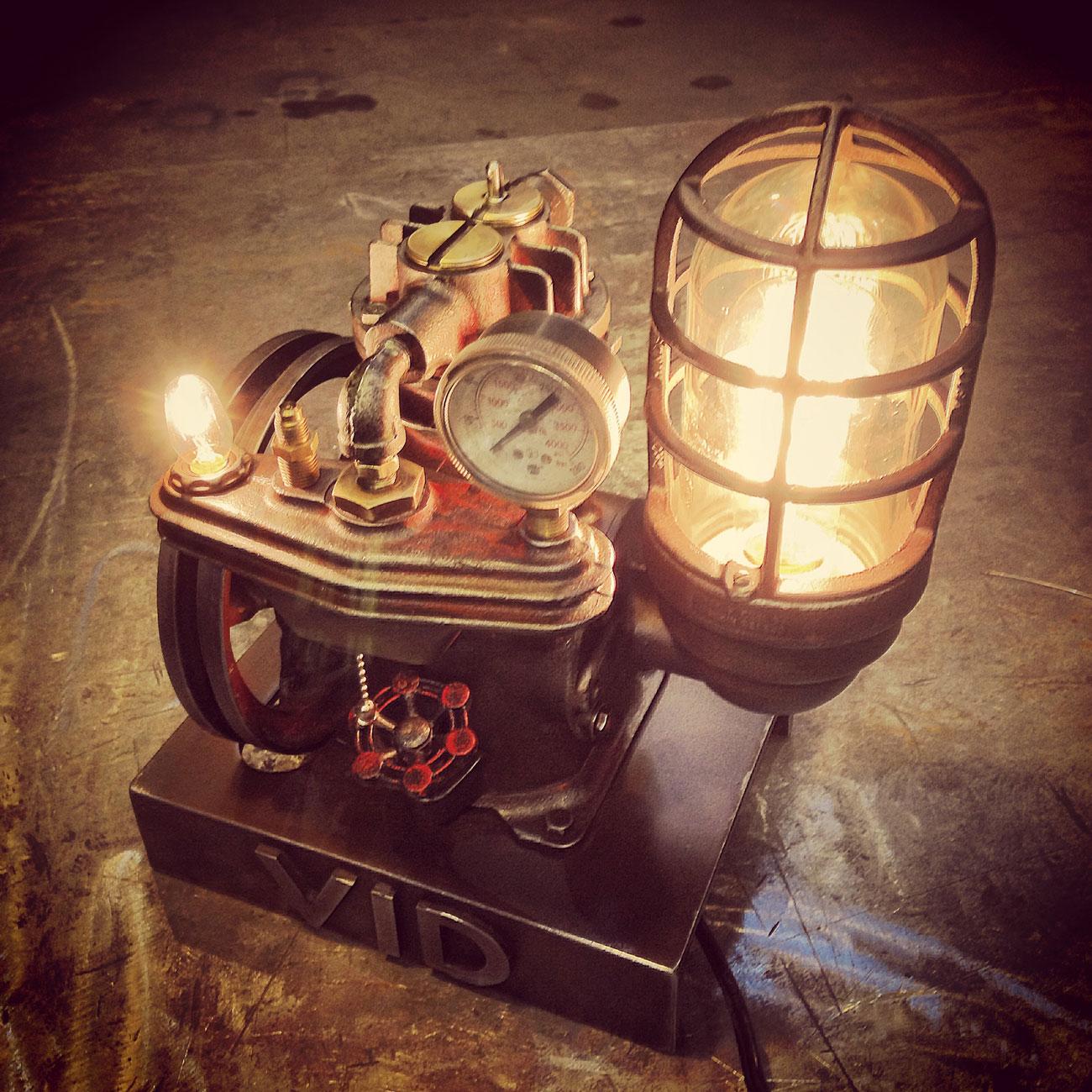 steampunk desk lamp lit