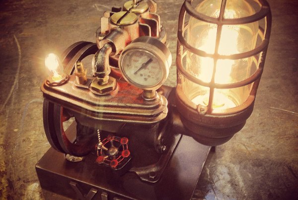 steampunk desk lamp lit