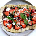 Chocolate Strawberry Mint Dessert Pizza