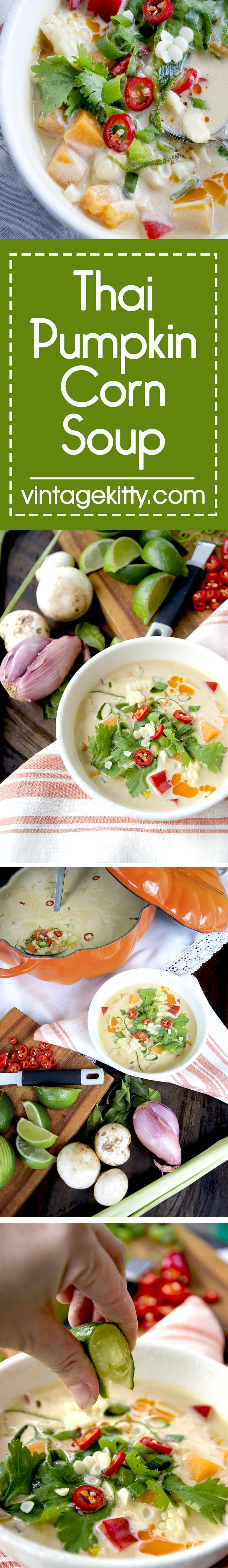 This creamy and satisfying Thai Pumpkin Corn Soup combines a bounty of fresh veggies and can accommodate omnivore, vegetarian and vegan diets. | vintagekitty.com
