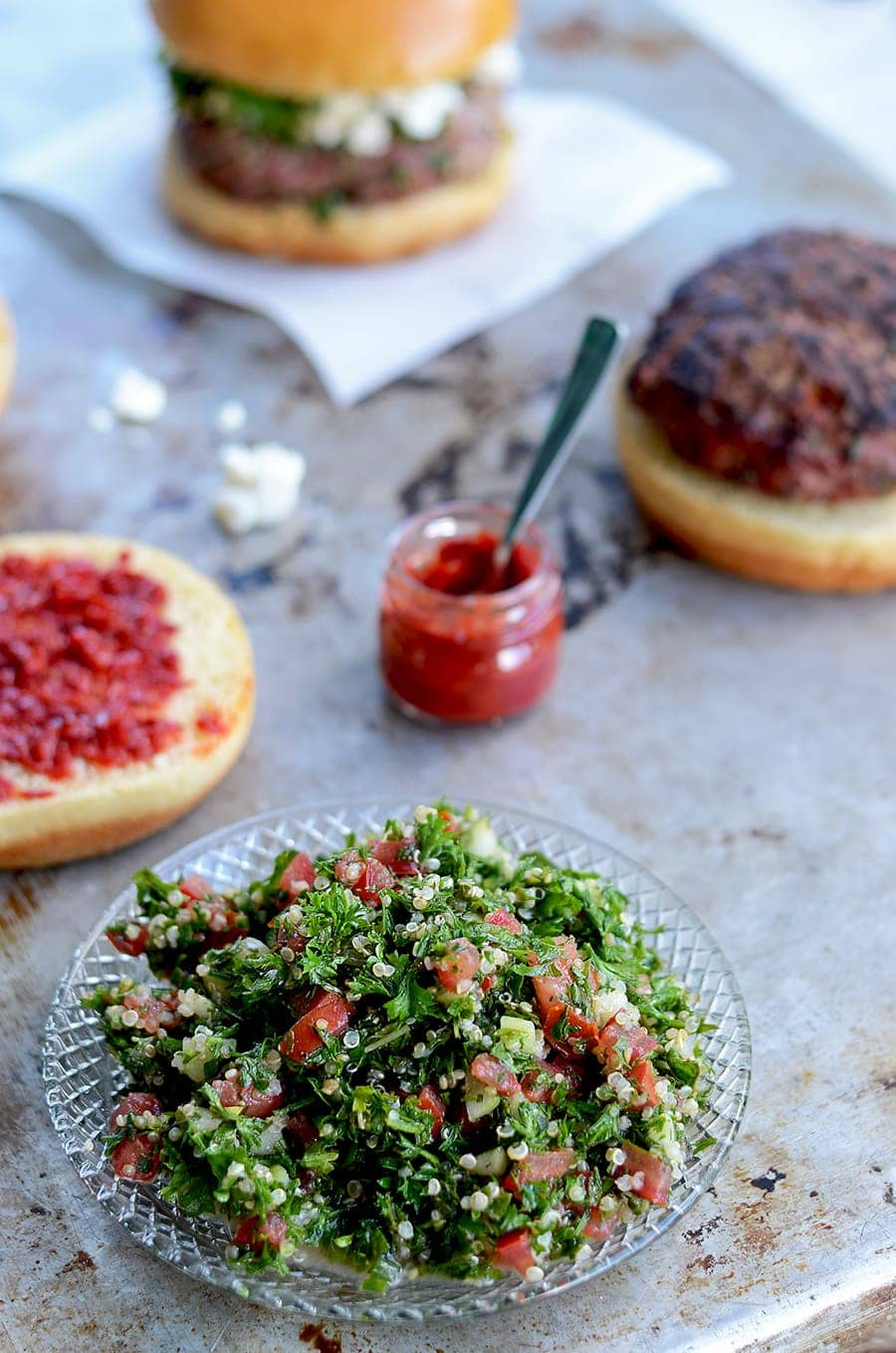Make your next cookout a multicultural affair. These Tabouleh Turkey Burgers with Feta and Harissa are a fresh take on the classic grilled burger.