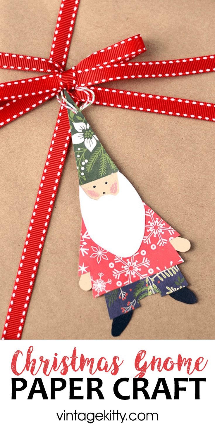 This Christmas Gnome Craft is a fun project for kids and adults! Use these paper gnomes as gift tags, Christmas ornaments or make them into a holiday garland. #Christmascrafts #gnomelove #holidaygarlands