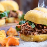 Slow Cooker Pork Barbecue Sliders with Homemade Bok Choy and Carrot Slaw