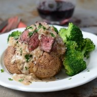 Easy Steak au Poivre Baked Potatoes