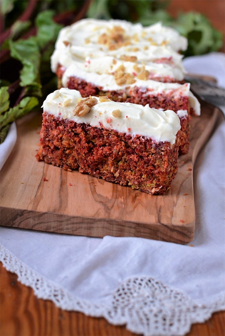 Dress up your dessert or breakfast or snack with this beautiful Rustic Beet Cake with Cream Cheese Icing. A sweet alternative to carrot cake.