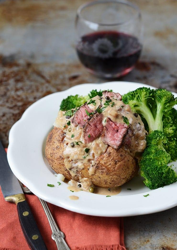 Steak au Poivre Baked Potatoes