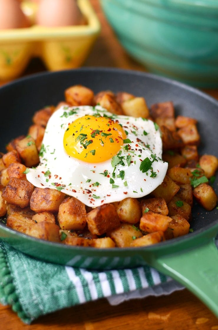 Skillet with Breakfast Potatoes and Sunny Side Up Egg