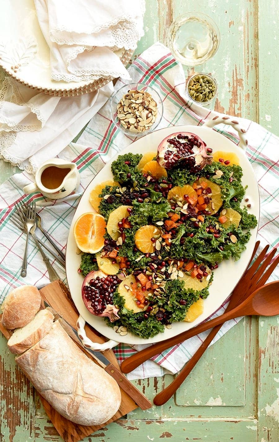 Colorful, fresh and seasonal, this Fall Harvest Kale Salad will bring everyone to the dinner table!