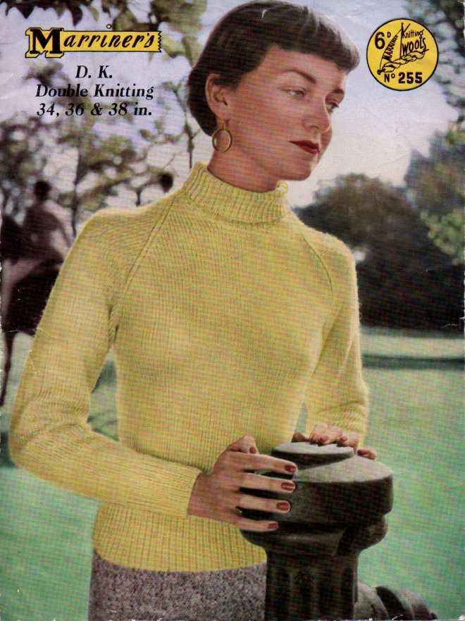 50s Roll Neck free vintage knitting pattern
