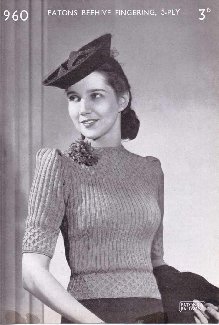 free vintage 40s forties knitting pattern