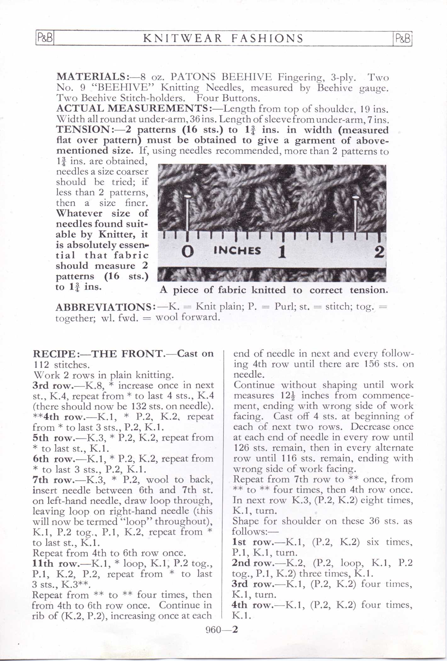 Free Vintage Knitting Pattern – Patons No. 960