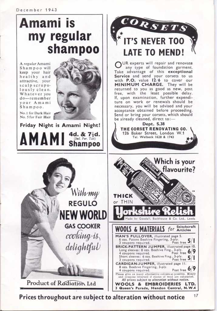 Vintage adverts WW2 Stitchcraft Dec 1943