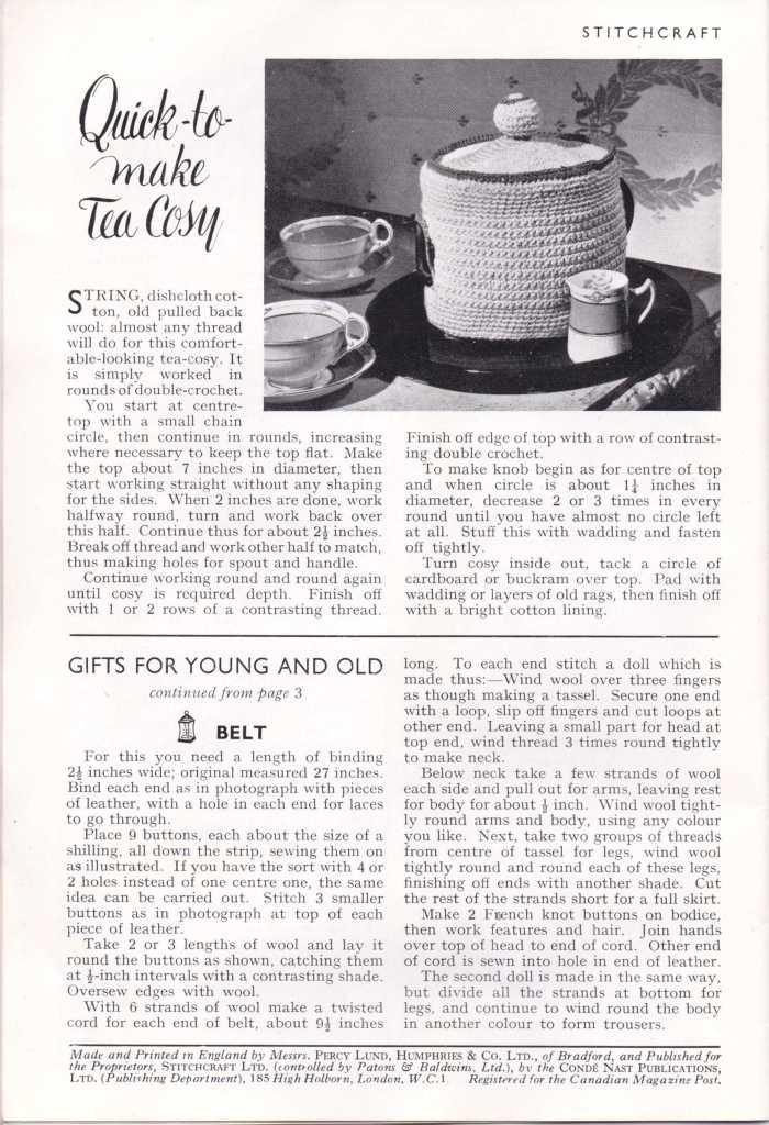 Stitchcraft Dec 1943 tea cosy