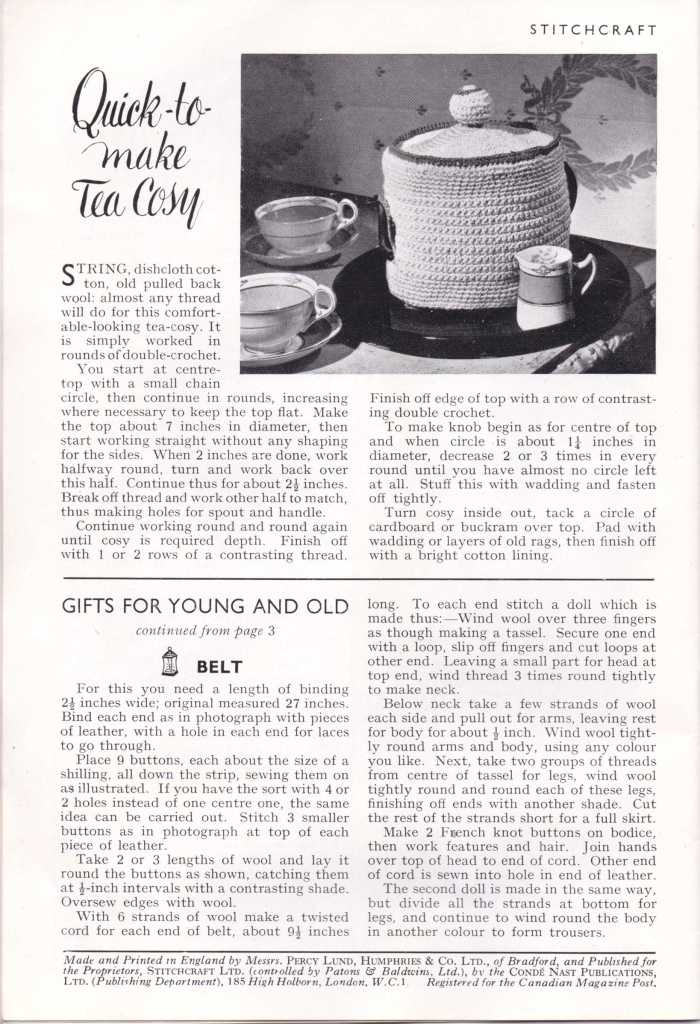 Stitchcraft Dec 1943 tea cosy