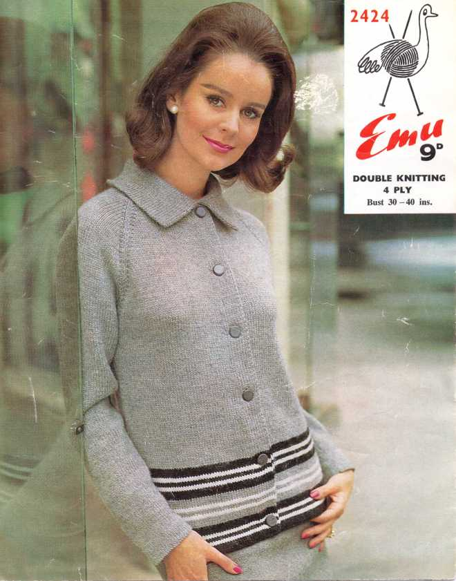 Free 60s Mod knitting pattern cardigan