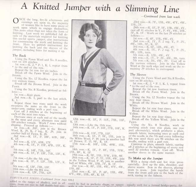 free vintage 20s jumper knitting pattern