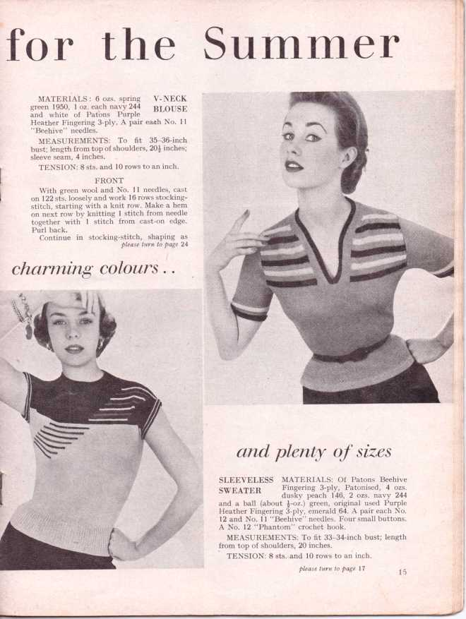 vintage knitting patternstitchcraftjune195218