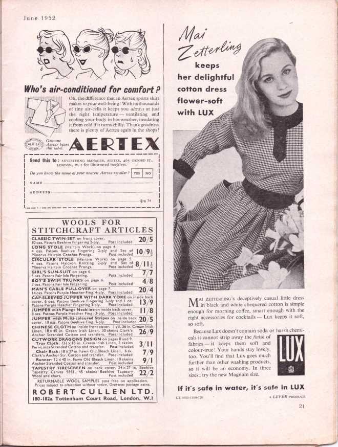 vintage knitting patternstitchcraftjune195224
