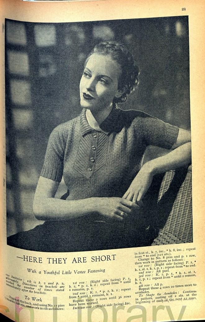 Good Needlework April 1936 Free Knitting patter