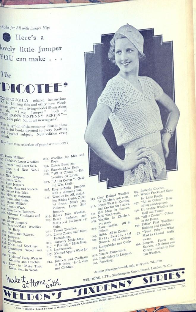 Weldon's Ladies' Sixpenny Series Advert thirties
