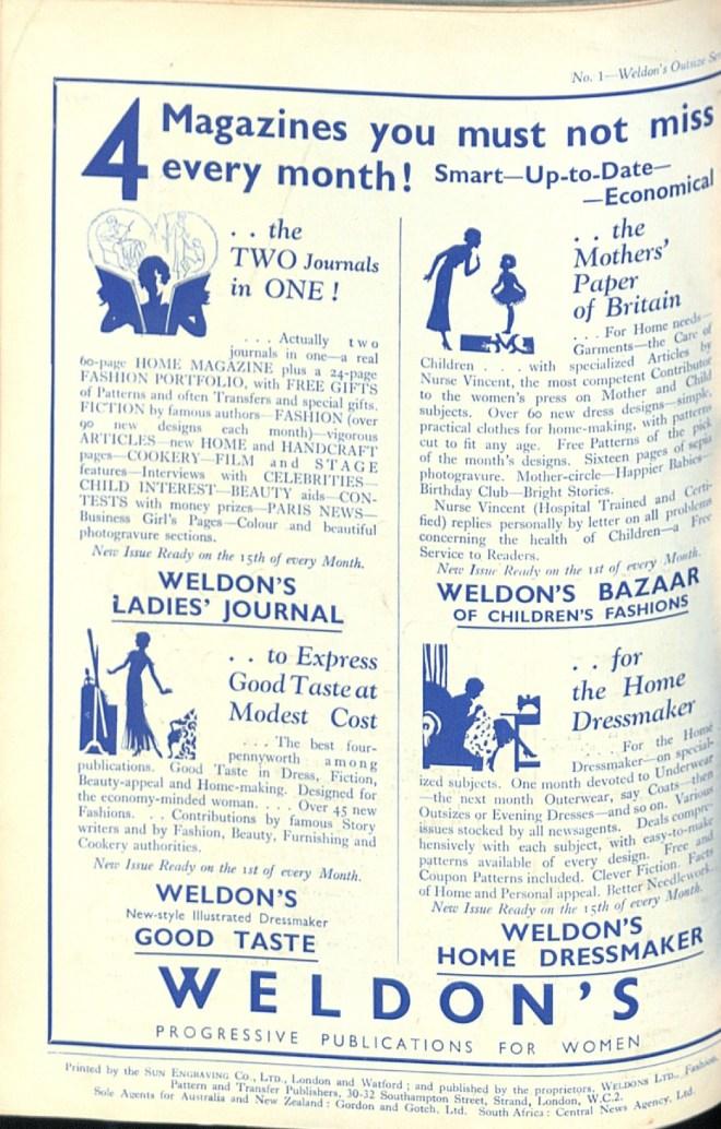 Weldon's Ladies' Journal Advert thirties