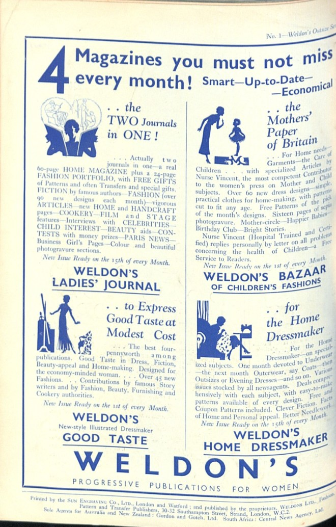 Weldon's Ladies' Journal Advert thirties