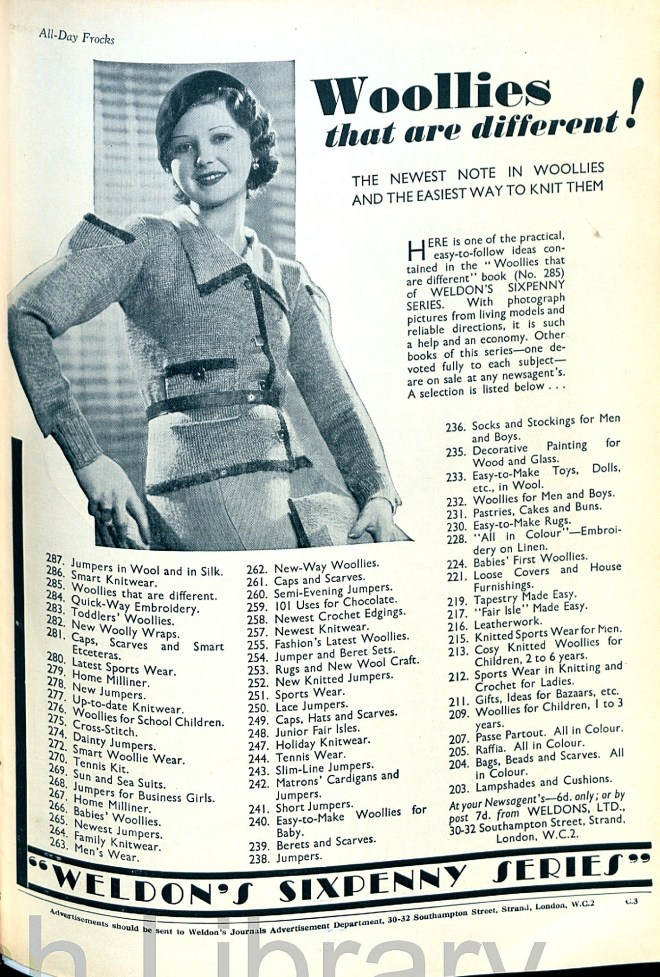 Weldon's Ladies' Sixpenny Series Advert thirties