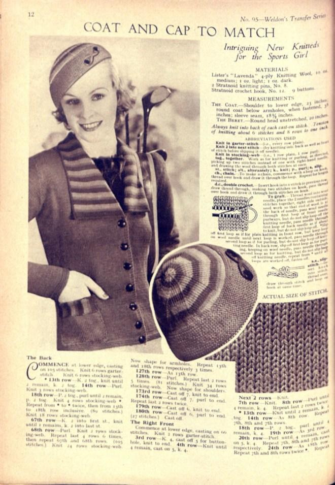 Weldon's Transfer Series Knitting Pattern 30s cap cardigan jacket