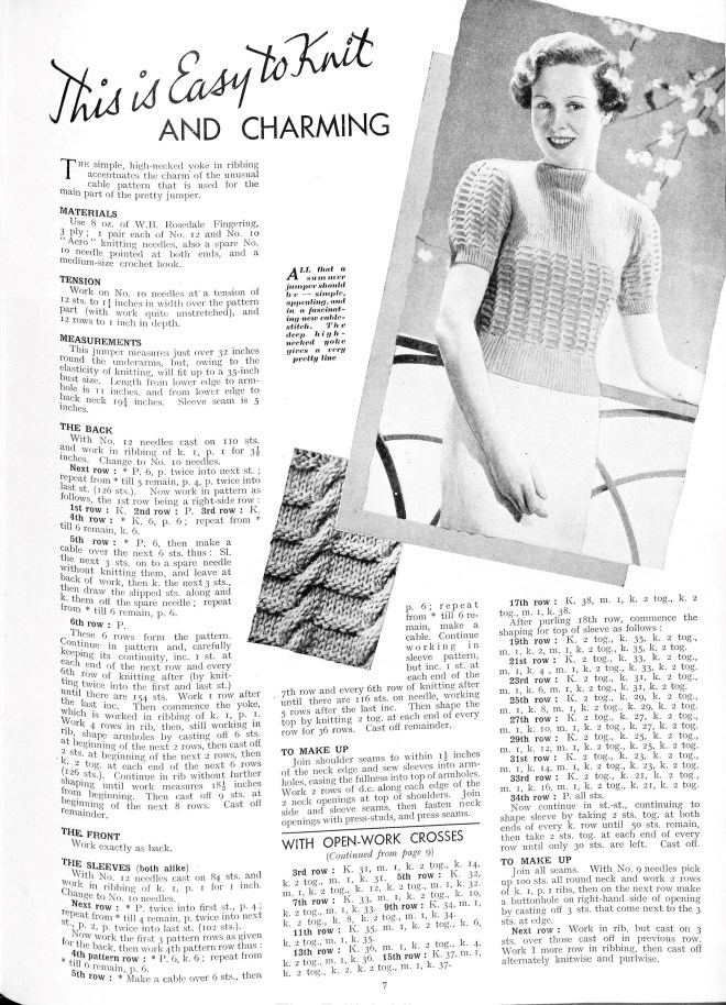 Easy to knit thirties top ladies free knitting pattern