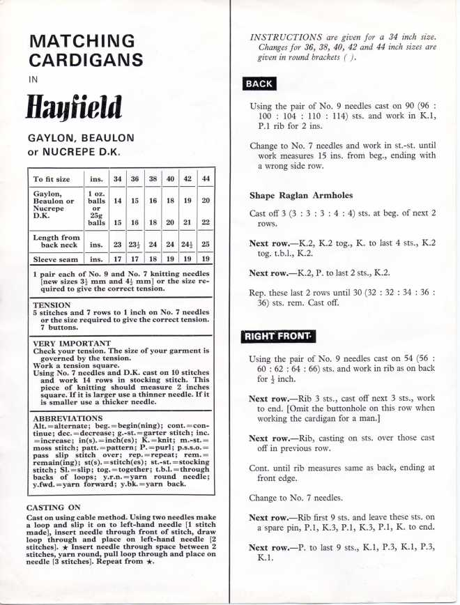 Hayfield DK cardigan free knitting pattern