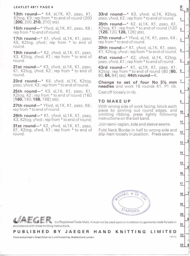 Jaeger 4811 ladies jumper free knitting pattern 3