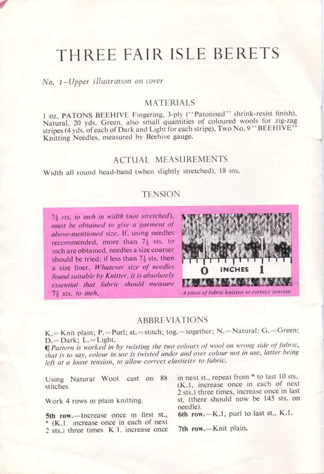 P &B chidlrens berets free knitting pattern men's 1