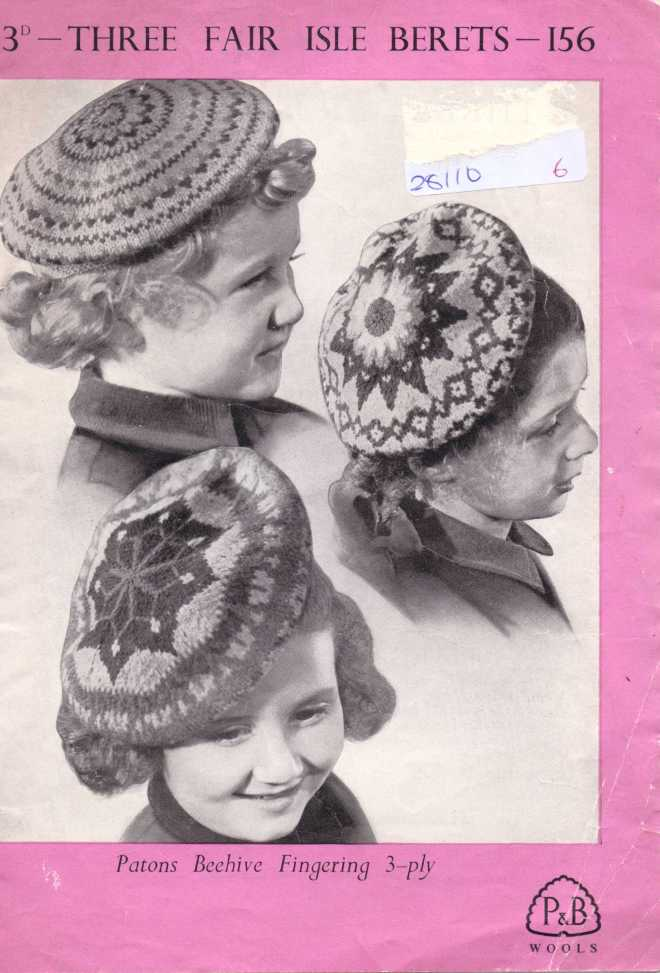 P &B chidlrens berets free knitting pattern men's