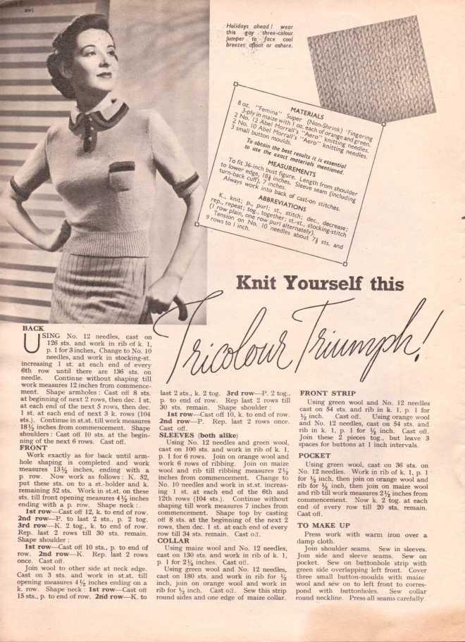 Weldon's Ladies Journal 1938 free knitting pattern1