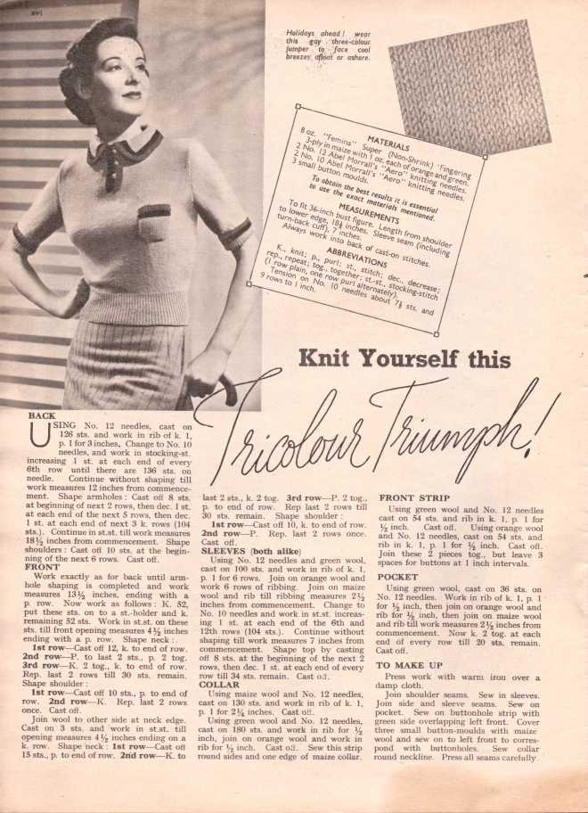 Weldon's Ladies Journal 1938 free knitting pattern1