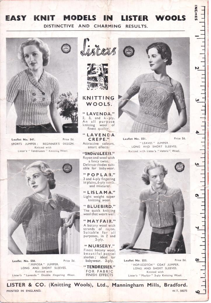 Harlequin free thirties knitting pattern 34-36 inch bust back page