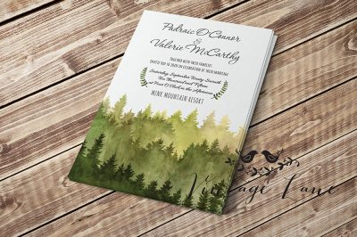Wedding Invitations Forest Lodge