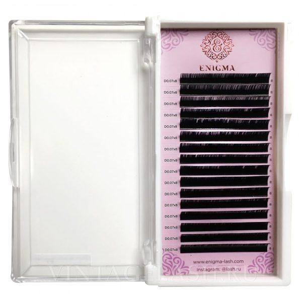Черные ресницы Enigma Изгиб D (один размер) 16 линий
